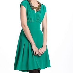 Anthropologie Lil Silk Draped Tieback Dress Medium
